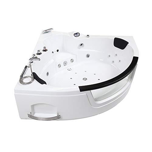 Home Deluxe - Whirlpool Badewanne - Laguna L weiß Mini - mit Heizung und Massage - Maße: 135x135x65cm, inkl. kompl. Zubehör   Eckwanne, 2 Personen, Indoor Jacuzzi