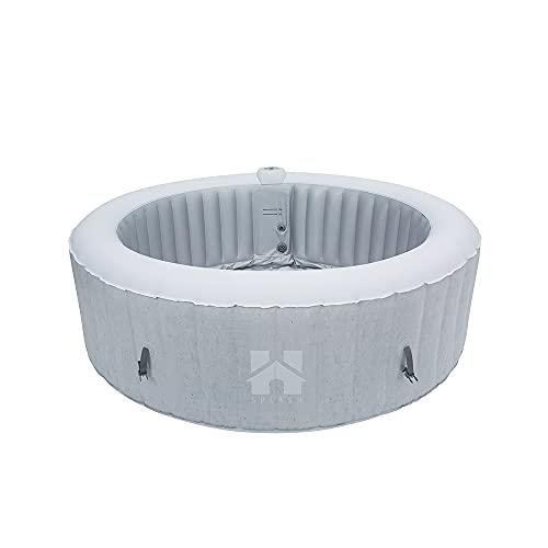 Home Deluxe - Outdoor Whirlpool Splash - Betonoptik - ⌀ 208 cm, Höhe 65 cm, 130 Luftdüsen - inkl. Abdeckung, Reparaturset, Filterset   Jacuzzi, Außen Whirlpool Wellnes Spa