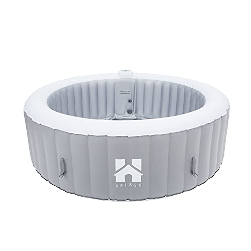 Home Deluxe - Outdoor Whirlpool Splash - Uni Grau - ⌀ 208 cm, Höhe 65 cm, 130 Luftdüsen - inkl. Abdeckung, Reparaturset, Filterset   Jacuzzi, Außen Whirlpool Wellnes Spa