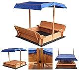 Home Deluxe - Sandkasten Buddelkiste - Mit verstellbarem Dach und Bodenplane - Maße: 110 x 110 x 110 cm - inkl. komplettem Montagematerial   Sandspielkasten Holzsandkasten Sandspielzeug