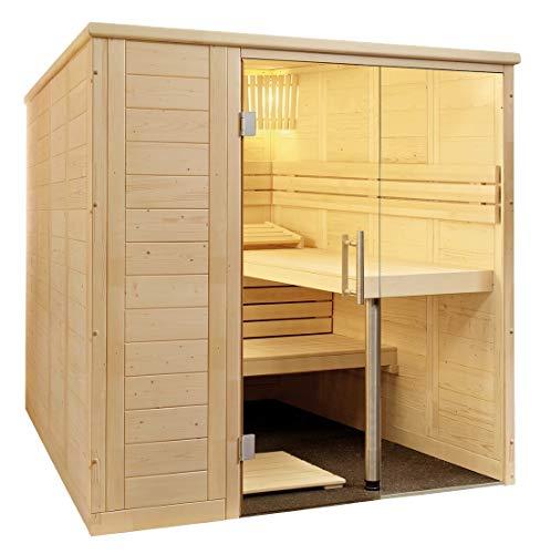 SAUNELLA Sauna mit Ofen + Verdampfer | Bausatz Heimsauna – Saunakabine Maße: 208 x 206 x 204 cm | Saunaofen Komplett Sauna Zubehör Ecksauna Massivholz | mit ext. Steuerung 3,4 kW
