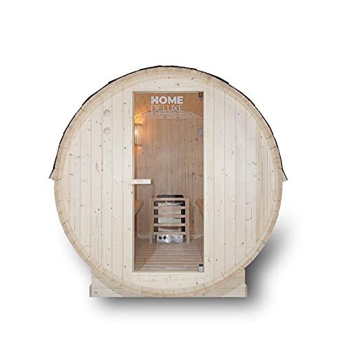 Home Deluxe - Outdoor Fasssauna 4 Personen - Lahti L mit Elektroofen - Holz: Fichtenholz - Maße: BxTxH: ca. 194,8cm x 191,7cm x 180cm - inkl. komplettem Zubehör   Gartensauna, Außensauna, Sauna