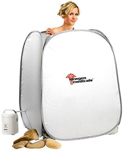newgen medicals Dampfsauna: 2in1-Heim-Dampfbad und Sauna, portabel, 1.000-Watt-Generator & Timer (Einmannsauna)