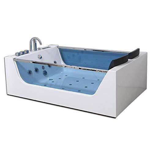 Home Deluxe - Whirlpool Badewanne - Atlantic XL weiß mit Heizung und Massage - Maße: 180 x 120 x 60 cm   Wanne für 2 Personen, Indoor Jacuzzi