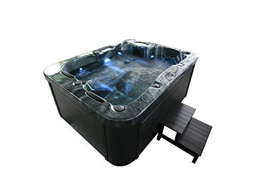 Home Deluxe - Outdoor Whirlpool für 4 Personen, 27 Massagedüsen und 9 Lichtquellen - Black Marble- Maße 210 x 160 x 85 cm   Jacuzzi, Außen Whirlpool (Black Marble Plus Treppe und Thermoabdeckung)