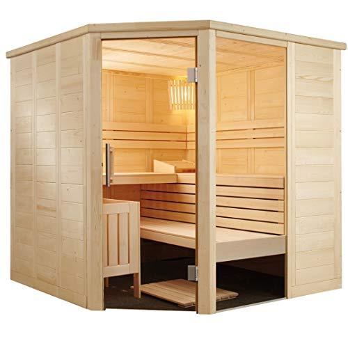 SAUNELLA Sauna mit Ofen | Bausatz Heimsauna – Saunakabine Maße: 206 x 206 x 204 cm | Saunaofen Komplett Sauna Zubehör Ecksauna Eckeinstieg Massivholz | mit ext. Steuerung 7,5 kW