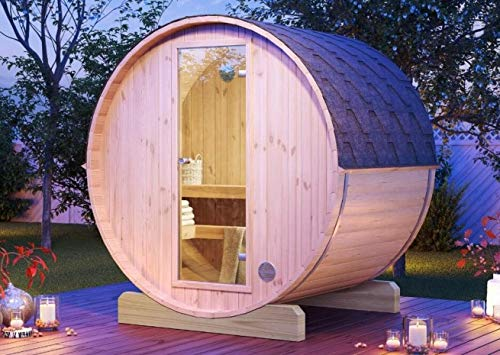 FinnTherm Fass-Sauna Mini 160 unbehandelt   Bausatz - Gartensauna Außensauna