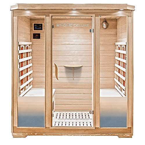 Home Deluxe – Infrarotkabine Bali XL – Keramikstrahler, Holz: Hemlocktanne, Maße: 175 x 120 x 190 cm | Infrarotsauna für 4 Personen, Sauna, Infrarot, Kabine