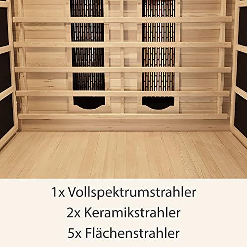 Artsauna Infrarotkabine Oslo – Triplex-Heizsystem Infrarotsauna - 2 Personen – LED-Farblicht, Digitale Steuerung – Hemlock-Holz
